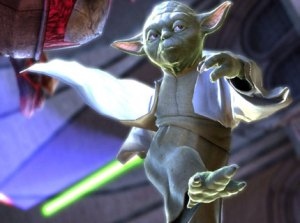 Yoda prepares to get medieval on someone in Soul Calibur IV