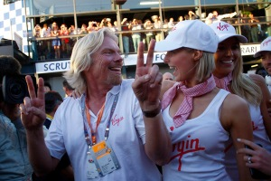 Brawn GP finish 1st & 2nd in their Virgin race, Branson celebrates (indeed).